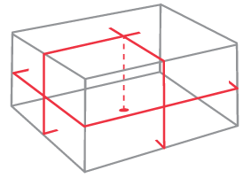 Illustration of lines and dot projected by General XL1.