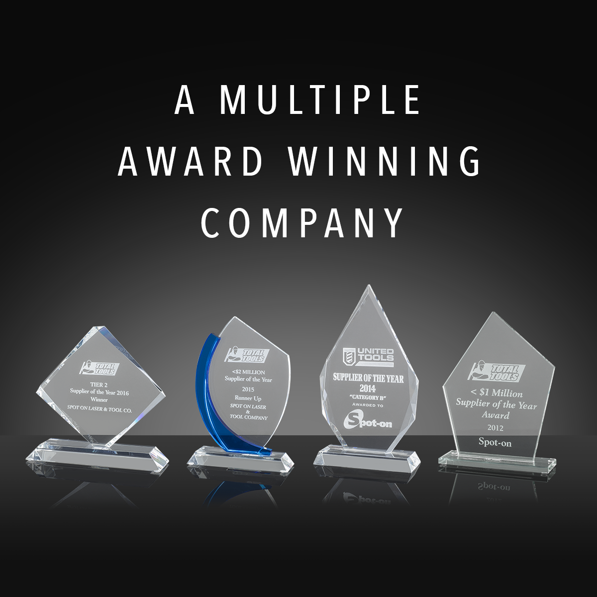 A multiple award winning company: Total Tools Supplier of the Year 2012, United Tools Supplier of the Year 2014, Total Tools Supplier of the Year 2015 runner‑up, Total Tools Supplier of the Year 2016.